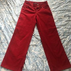 Red Corduroy Wide Leg Pants